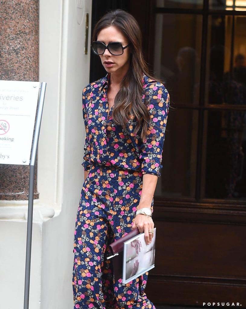 Victoria Beckham Wearing Print Top and Skirt