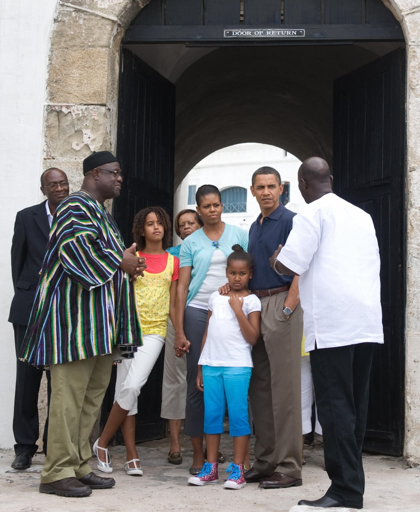 President Obama and First Lady Michelle took a tour of Ghana's Cape Coast Castle with Sasha and Malia in July 2009.