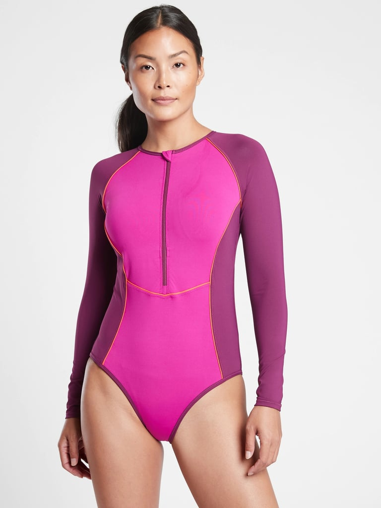 Athleta Colorblock Long Sleeve One Piece Swimsuit