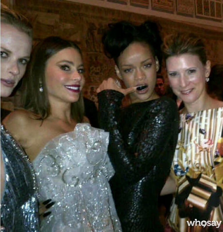 Sofia Vergara met up with Rihanna inside the bash. Source: Sofia Vergara on WhoSay