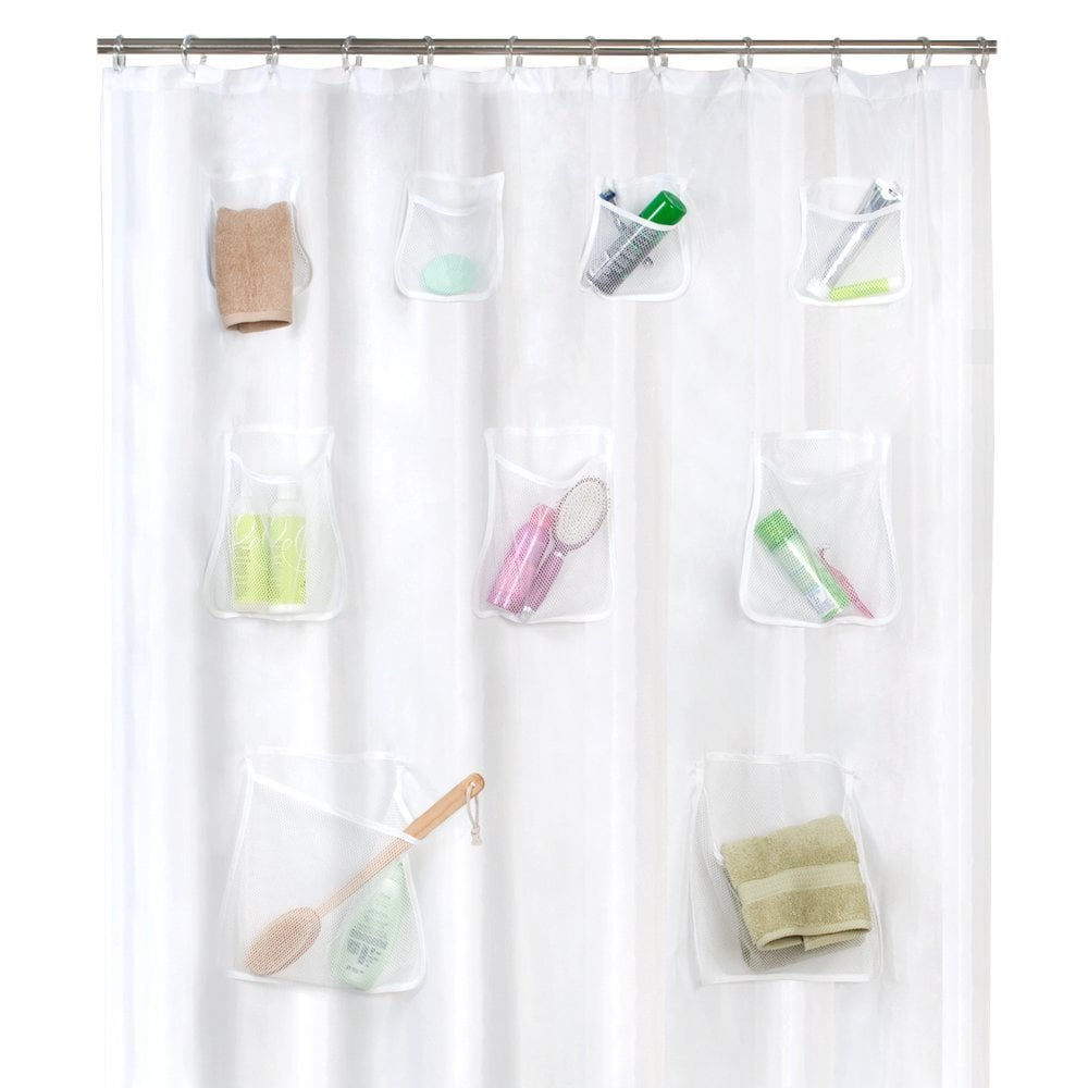 Shower Curtain Liner With Mesh Pockets