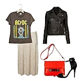 Edge up your metallics with a cool vintage tee (half tuck optional for that nonchalant street-style effect) and a leather jacket. A great pair of stilettos and a flash of color on your bag will play opposites to your tough-girl pieces, making it just the thing for grabbing drinks with friends. Get the look:  Topshop Metallic Pleat Calf Skirt ($56) Vintage AC/DC Who Made Who Tour Tee ($198) Topshop Traditional Leather Jacket ($110) Zara Basic Sandal ($50) Proenza Schouler PS11 Classic Iguana ($6,825)