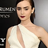 At the Los Angeles premiere of The Mortal Instruments, Lily Collins went bold and beautiful with her hair and makeup.