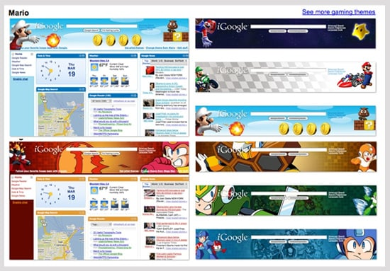 iGoogle Gets Video Game Themes