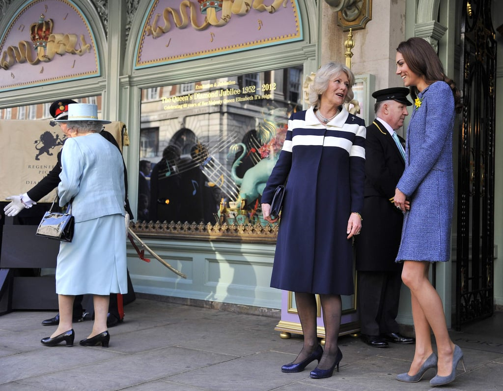 Kate and Camilla chatted as the queen led the way.