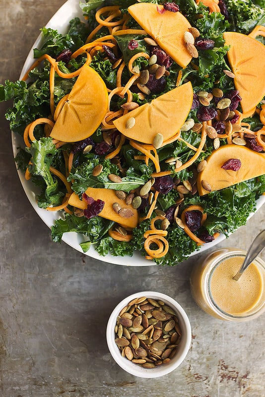 Kale Salad With Sweet Potato Noodles and a Smoky Orange Vinaigrette