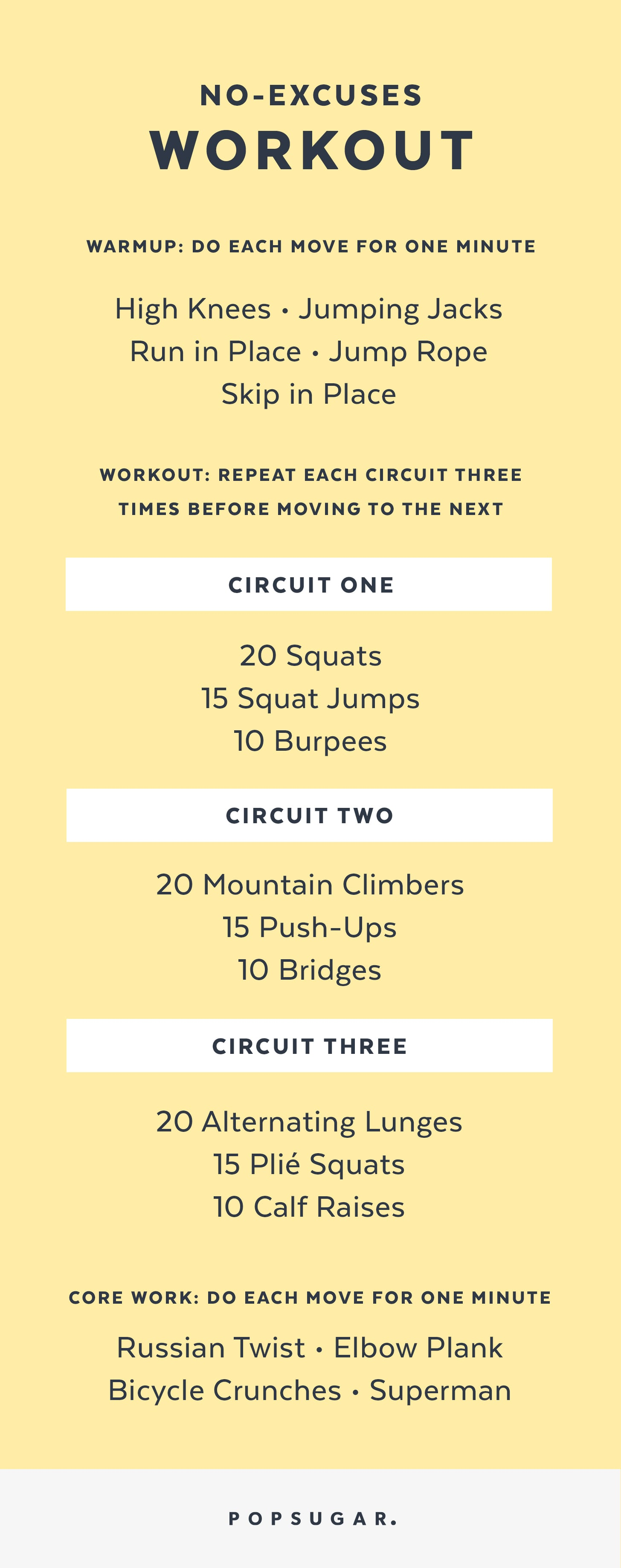 Printable No-Excuses Workout That You Can Do Anywhere