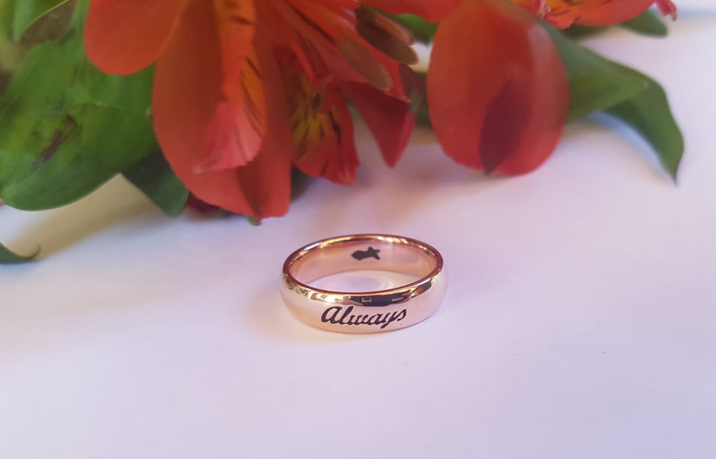 "Harry Potter-Inspired Rose Gold 10 Karat ""After All This Time? Always"" Ring ($318)"