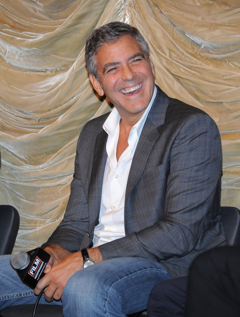 George Clooney couldn't stop laughing at a Q&A for The Descendants.