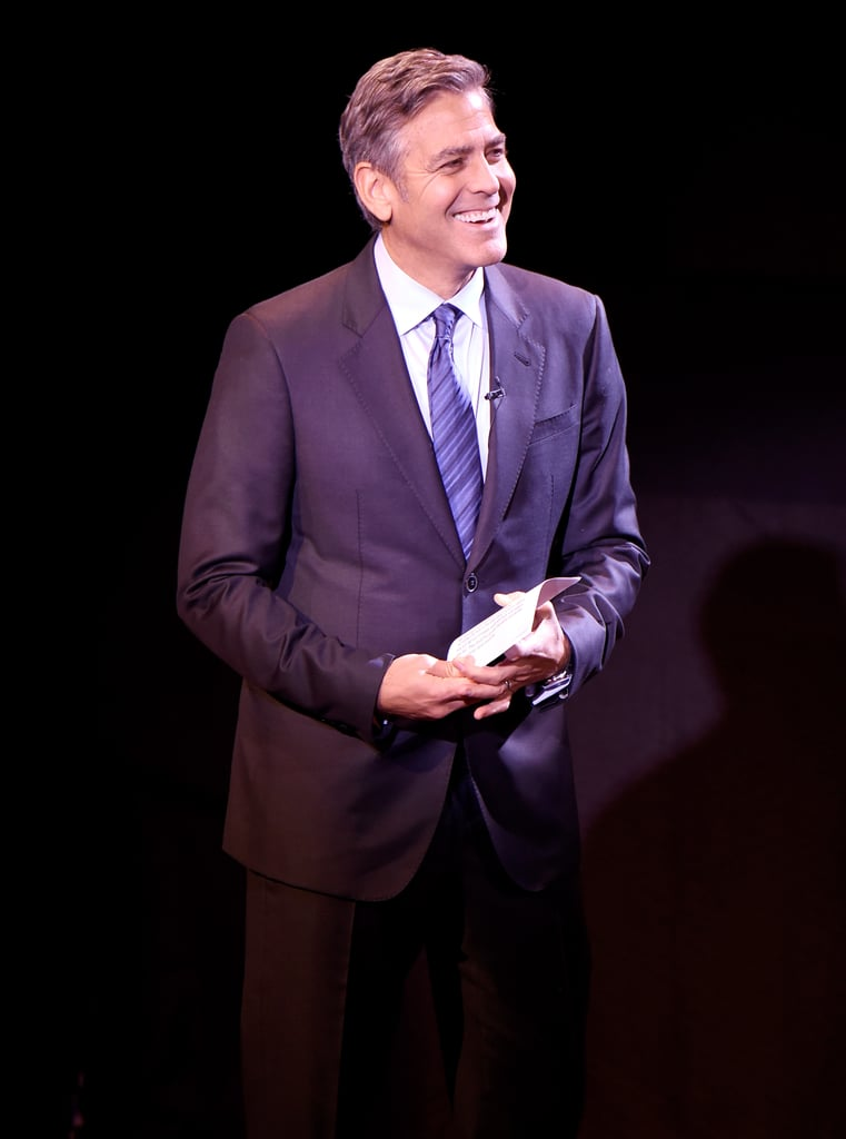 """Although George Clooney hit the red carpet with Danny DeVito instead of Amal on Monday, he made a point to give his wife a funny shoutout during the SeriousFun Children's Network gala in NYC. At the event, George talked about Paul Newman's legacy of helping sick children, referencing the international network of camps founded by the late actor. """"Today, there isn't just one camp, but there's a thriving community in the US, in Europe, in Israel,"""" George said. """"Since 1988, these camps have brought over a half-million sick kids and their families from over five hun . . . — over 50 countries. Five hundred countries would be too many. There aren't actually that many."""" The audience laughed at George's fumble, and he joked, """"My wife's the smart one."""" The event at Lincoln Center's Avery Fisher Hall raised more than $1.5 million for SeriousFun Children's Network, and there were appearances and performances by Meryl Streep, Tom Hanks, David Letterman, Carole King, Ingrid Michaelson, and Natalie Cole. To close out the night, Meryl and Tom joined George on stage to sing and dance alongside SeriousFun campers while Aloe Blacc performed """"Wake Me Up."""" Watch video of the group's time on stage below, and check out some of the must-see snaps from the stars' night out, then see pictures of George and Amal's recent date night. Source: Getty / Kevin Mazur"""