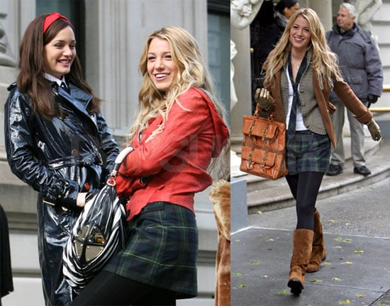 Leighton Meester, Taylor Momsen, Blake Lively on the set of Gossip Girl