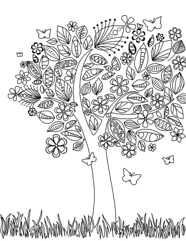 Get the coloring page: Tree | 50 Printable Adult Coloring ...