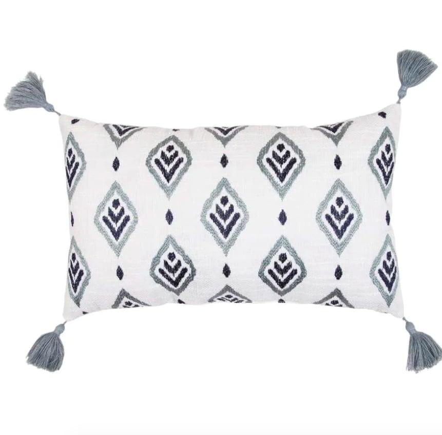 allen + roth Blue Tones and Natural Faux Linen Rectangular Indoor Decorative Pillow