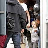 Knox Jolie-Pitt carried a balloon in London.