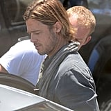 Brad Pitt showed off his long hair and scruffy face in Malta.