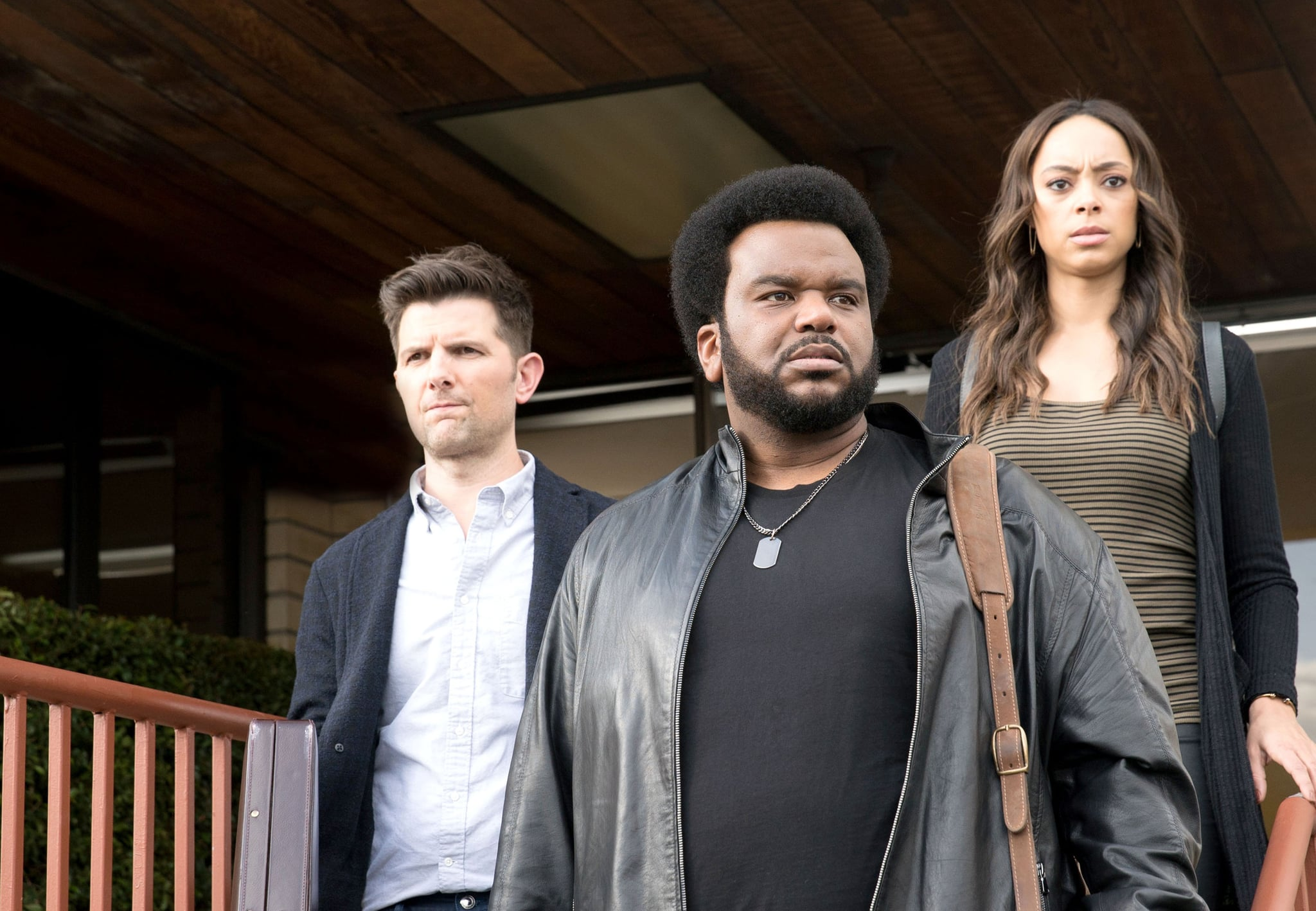 GHOSTED: L-R: Adam Scott, Craig Robinson and Amber Stevens in the