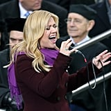 "Kelly Clarkson gave a powerful performance of ""My Country, 'Tis of Thee"" at President Obama's second inauguration."