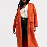 ASOS Glamorous Curve Longline Wool Coat