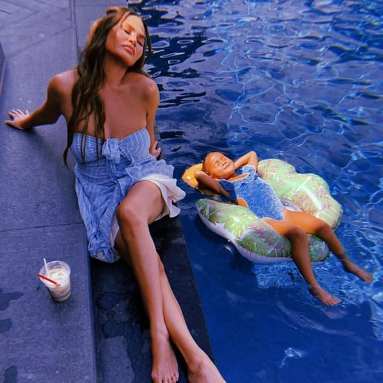 Chrissy Teigen and Luna in Her Blue Cutout Oséree Swimsuit