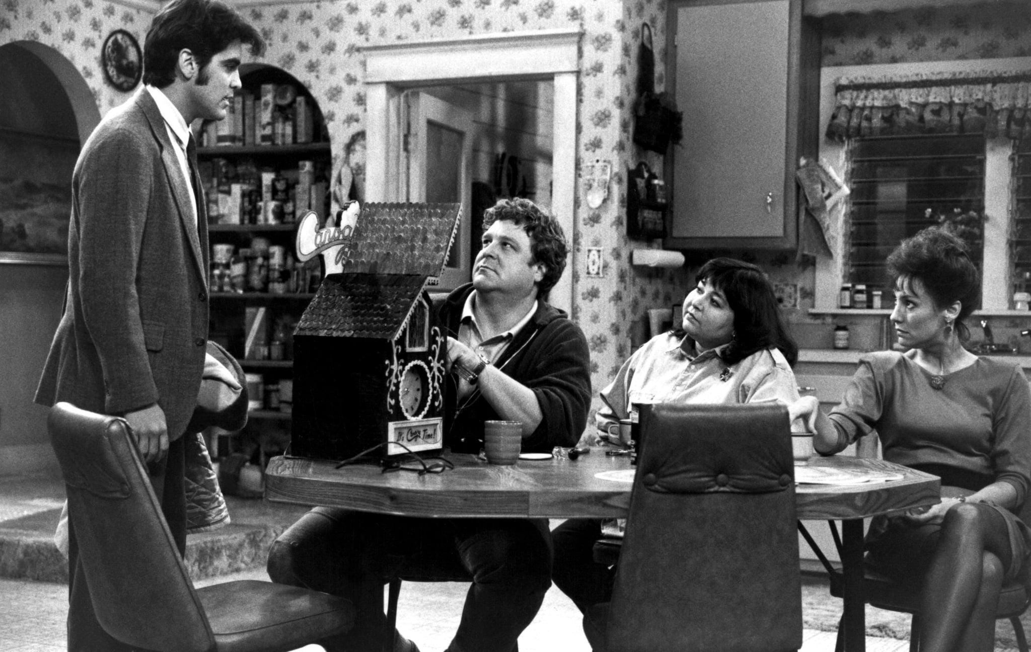 ROSEANNE, George Clooney, John Goodman, Roseanne, Laurie Metcalf, 1988-1997,
