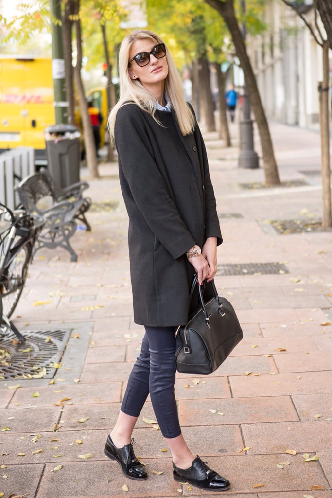 A Chic Coat, Skinny Trousers, and Menswear-Inspired Flats