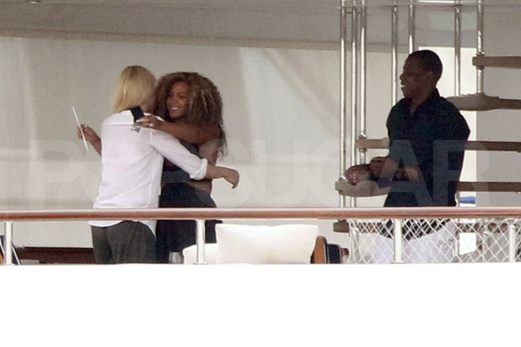 Beyoncé Knowles hugged Gwyneth Paltrow yesterday when the pals met up on a yacht docked near Venice! Gwyneth was fresh off a stint at the city's film festival, where she attended a photo call and premiere for her new movie Contagion. Jay-Z and Beyoncé rented the vessel called Odessa for her 30th birthday, and over the weekend had friends like Gwyneth, Erykah Badu, and more come abroad to share their happy wishes on the big milestone. In addition to turning the big 3-0, Beyoncé's got more to celebrate with her and Jay's baby on the way. Beyoncé and Jay-Z arrived in Venice over the weekend, checked into a hotel Saturday, and then treated themselves to a special dinner Sunday on Beyoncé's actual birthday.