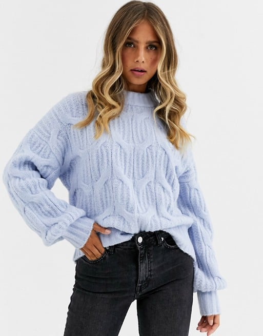 Urban Bliss Balloon-Sleeve Cable Knit Sweater