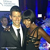 Naomi Campbell posed with tennis star Novak Djokovic at an event for his namesake charity. Source: Naomi Campbell on WhoSay