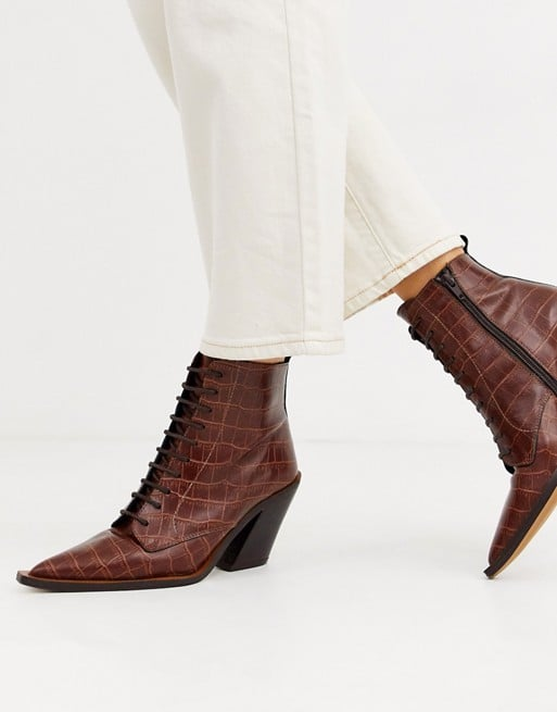 ASOS DESIGN Redwood premium leather western lace up boots in brown croc