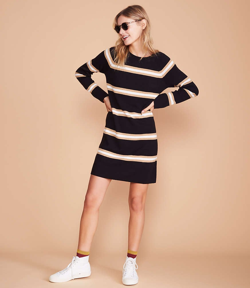 Lou & Grey Stripe Cuffed Sweater Dress