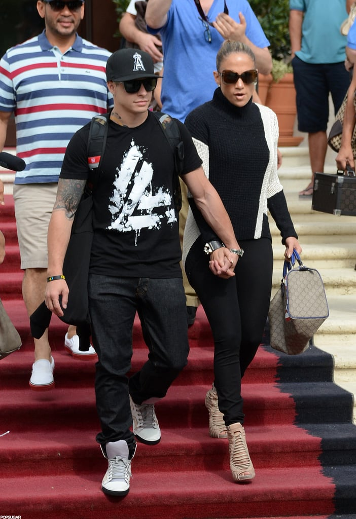Jennifer Lopez and Casper Smart held hands when they left their Miami Beach hotel.