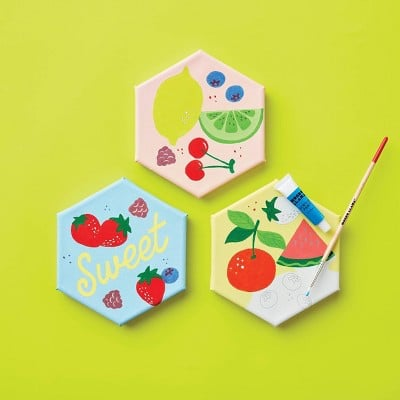 Mondo Llama 3ct Paint-Your-Own Hexagon Canvas Kit Fruit