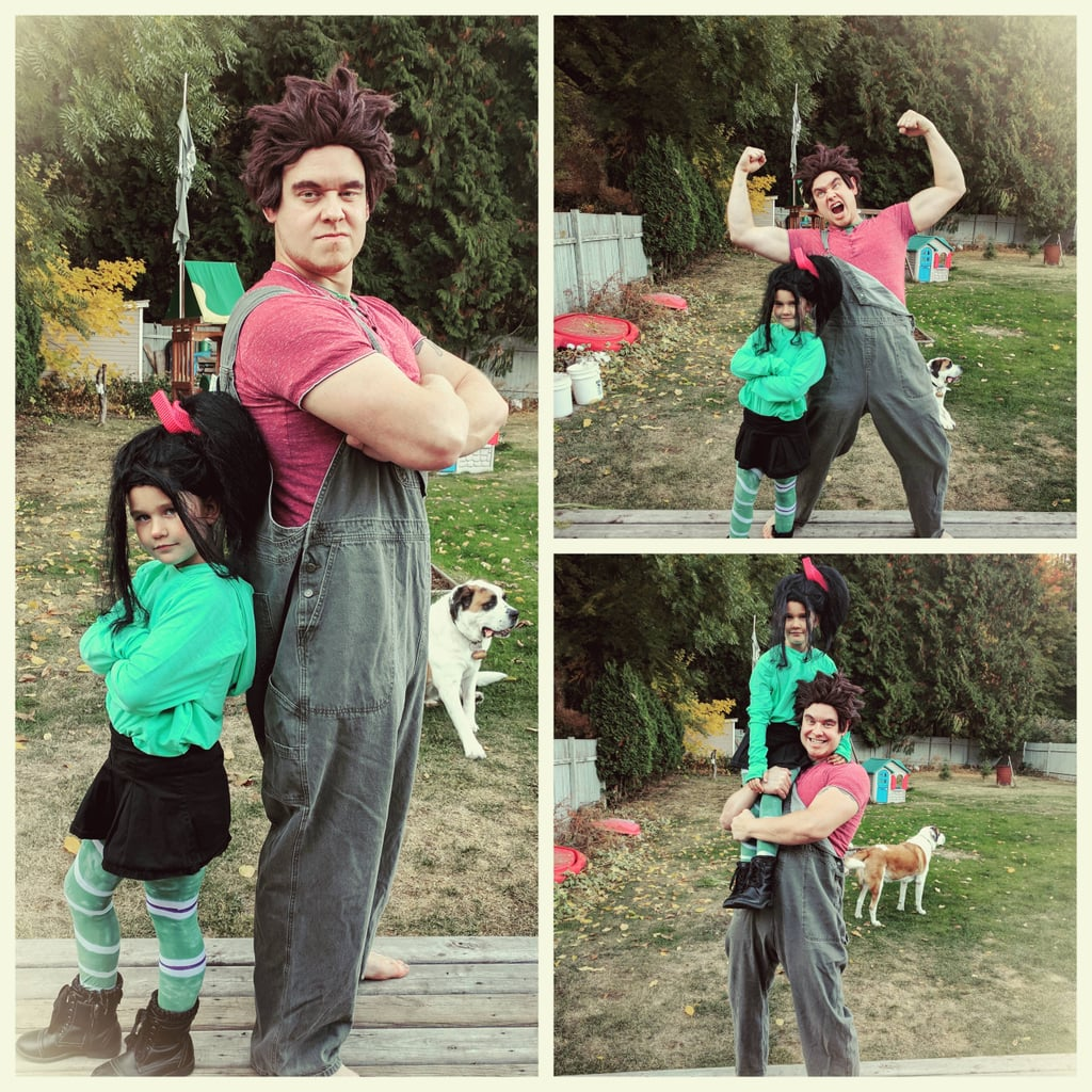 "When Clay's then 6-year-old daughter Isla approached him about Halloween costumes in 2017, she stated that she wanted to be Vanellope from Wreck-It Ralph; and though Clay notes that he's more of a superhero guy himself, he flexed his DIY muscles to create the most spot-on Disney character costumes ever. Seriously, they look like they jumped straight out of their respective video games and into a backyard (where Clay also flexed his literal muscles). ""I usually focus on Batman, Deadpool, Pennywise, or big suits of armour, but this was a little different for me,"" Clay told POPSUGAR. ""The clothes were basically what we had kicking around the house. What we didn't have, we went thrift store shopping for. The wigs were just a couple of cheap Halloween wigs that we styled. The sass is all my daughter. Everyone thought she looked supercute, and I made a passable Ralph."" Passable?! Both DIY costumes are literal perfection, in our opinion. See more photos of the adorable duo ahead!      Related:                                                                                                           A Dad Dressed His Toddler as Slinky Dog and Connected His Niece as the Butt and LOL This Costume Is Perfect"