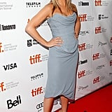 In 2013, Jennifer wore a strapless light blue Vivienne Westwood dress that featured a draped bodice.