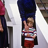 In September 1985, Princess Diana stayed close to Prince William on his first day of nursery school in London.