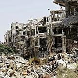 Destruction in Homs's government-held neighborhood, Jouret al-Shayah.