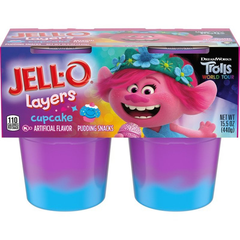 Shop Trolls Cupcake-Flavoured Jell-O Layers Pudding Snacks
