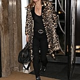 Kate wears her favourite leopard print coat while leaving Claridges Hotel in 2015.