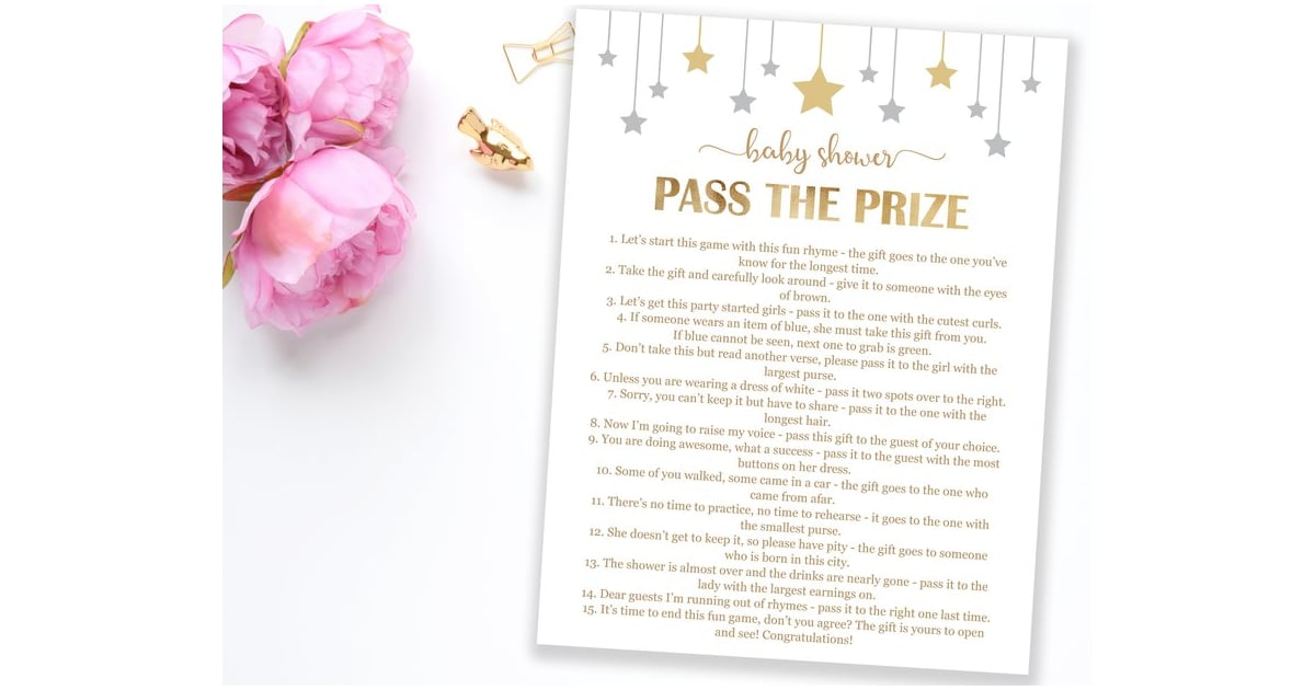 image regarding Baby Shower Pass the Prize Rhyme Printable identified as P the Prize Youngster Shower Sport Printable Boy or girl Shower