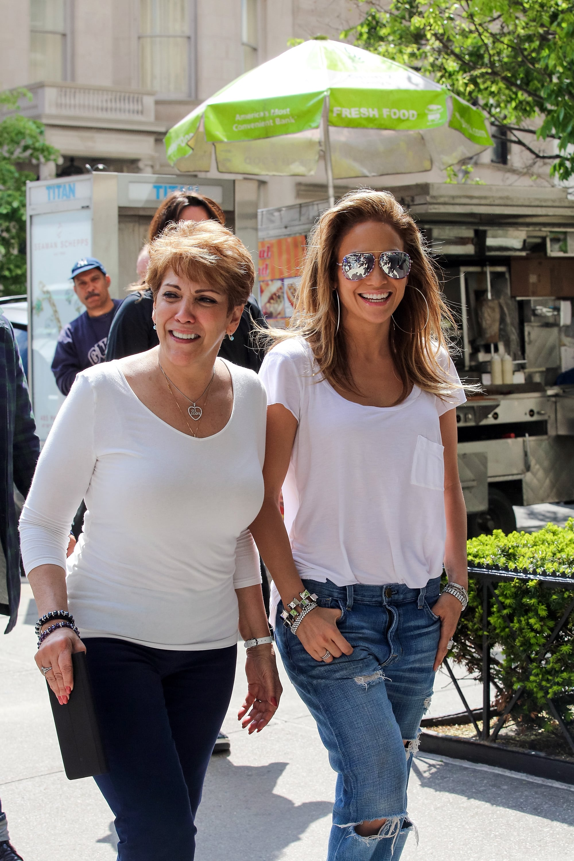 NEW YORK, NY - MAY 12:  Jennifer Lopez is seen taking a stroll on Madison Avenue with her mom Guadalupe Rodriguez on May 12, 2014 in New York City.  (Photo by Alessio Botticelli/GC Images)