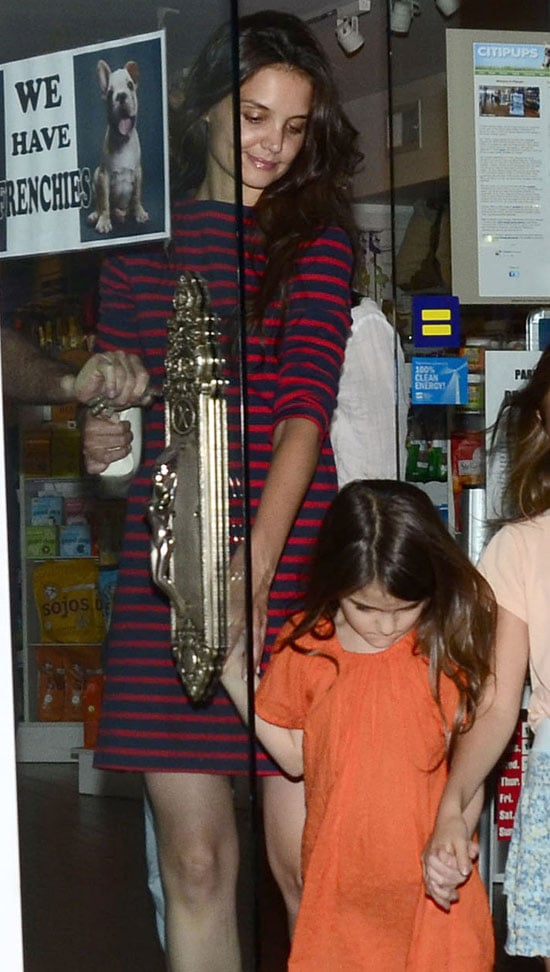 Katie Holmes Striped Dress Pictures