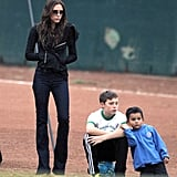 Victoria Beckham and Brooklyn Beckham watched Romeo and Cruz play soccer.