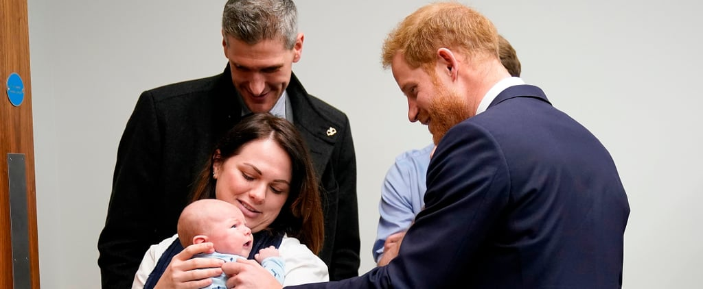 Prince Harry Meeting a Baby at Queen Elizabeth Hospital 2019
