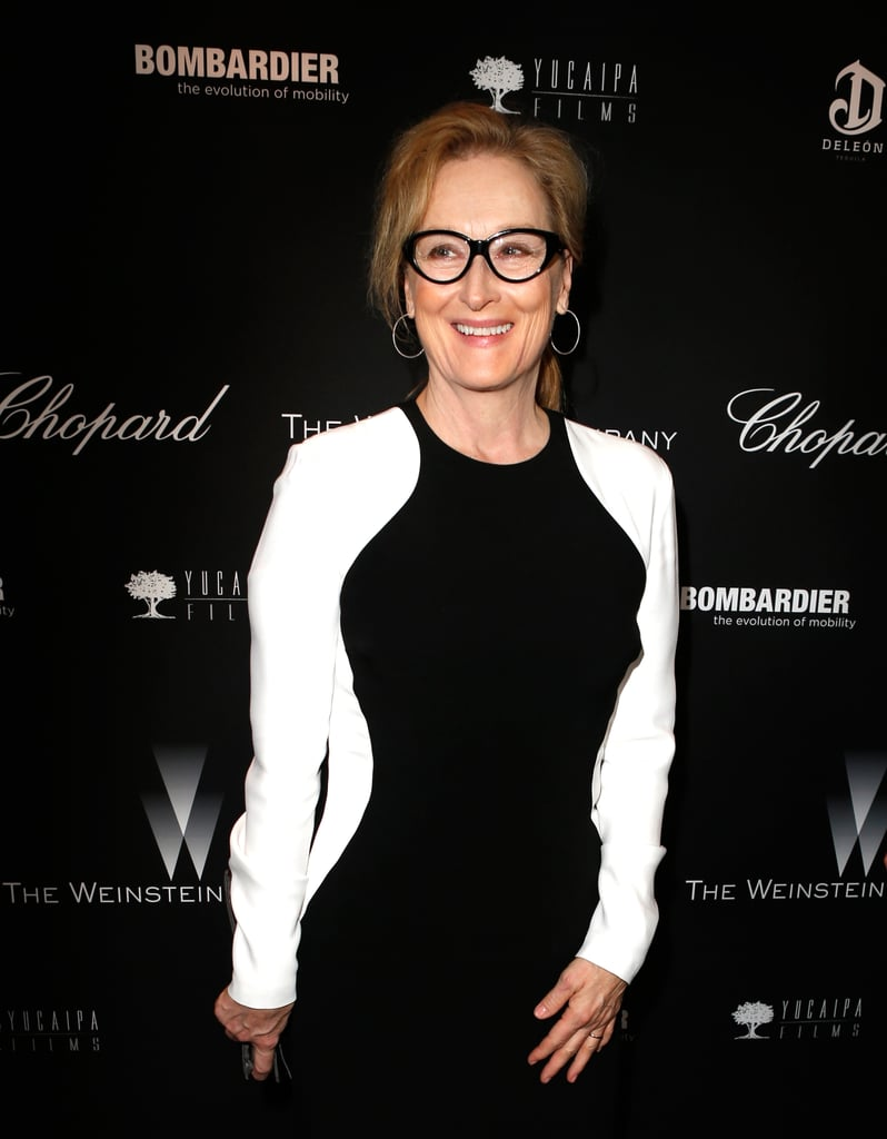 Meryl Streep attended the party in black and white.