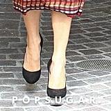 Jennifer Lopez Plaid Dress and Platform Heels