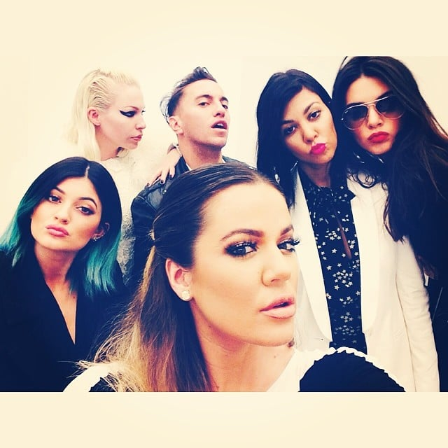 Kendall, Khloé, Kylie, and Kourtney got together with friends for a group shot.  Source: Instagram user khloekardashian