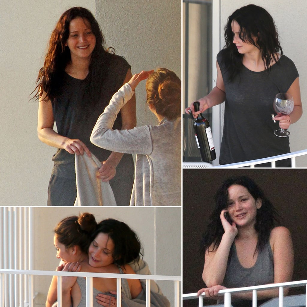 Jennifer Lawrence Lets Loose With a Glass of Wine and a Girlfriend