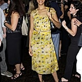 Zoe in yellow prints the Premiere magazine party in '01.