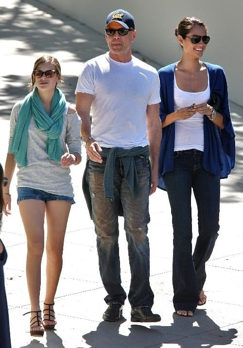 Bruce Willis and daughter Tallulah out and about with daddy's girlfriend.