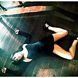 Lea Michele hit the floor after a long day of dancing on the set of Glee. Source: Instagram user msleamichele